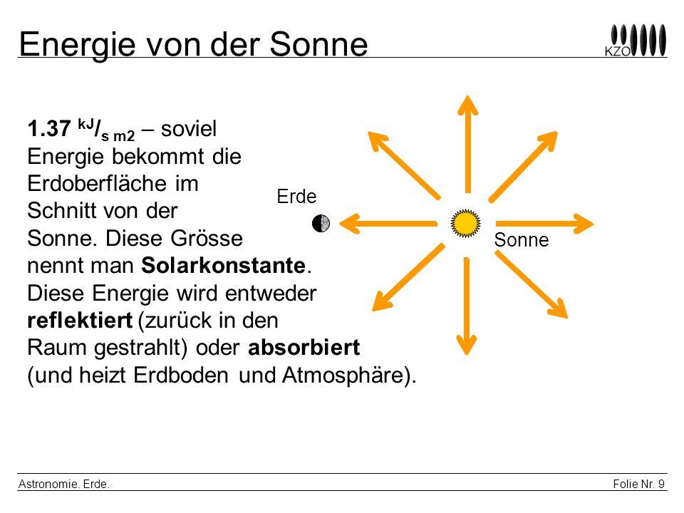 Folie Nr. 9 Astronomie. Erde. Energie von der Sonne Erde Sonne 1.37 kJ / s m2 – soviel Energie bekommt die Erdoberfläche im Schnitt von der Sonne. Die