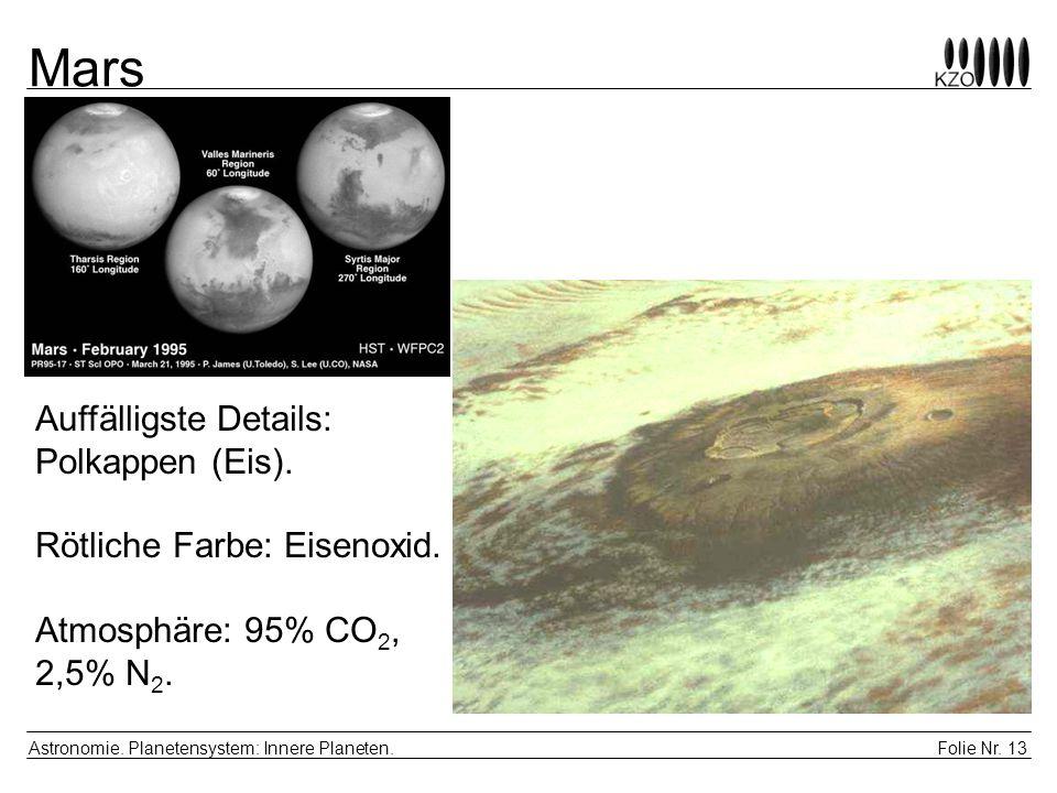 Folie Nr. 13 Astronomie. Planetensystem: Innere Planeten. Mars Auffälligste Details: Polkappen (Eis). Rötliche Farbe: Eisenoxid. Atmosphäre: 95% CO 2,