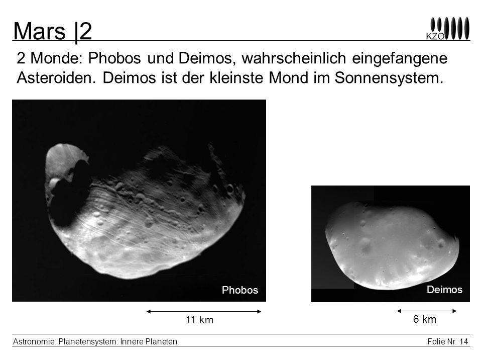 Folie Nr. 14 Astronomie. Planetensystem: Innere Planeten. Mars |2 2 Monde: Phobos und Deimos, wahrscheinlich eingefangene Asteroiden. Deimos ist der k