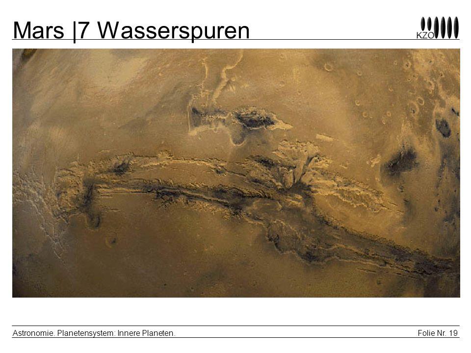 Folie Nr. 19 Astronomie. Planetensystem: Innere Planeten. Mars |7 Wasserspuren