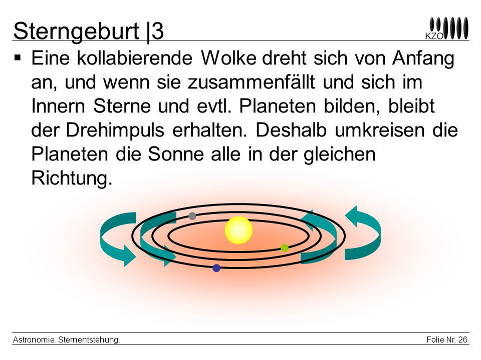 Folie Nr.26 Astronomie. Sternentstehung.