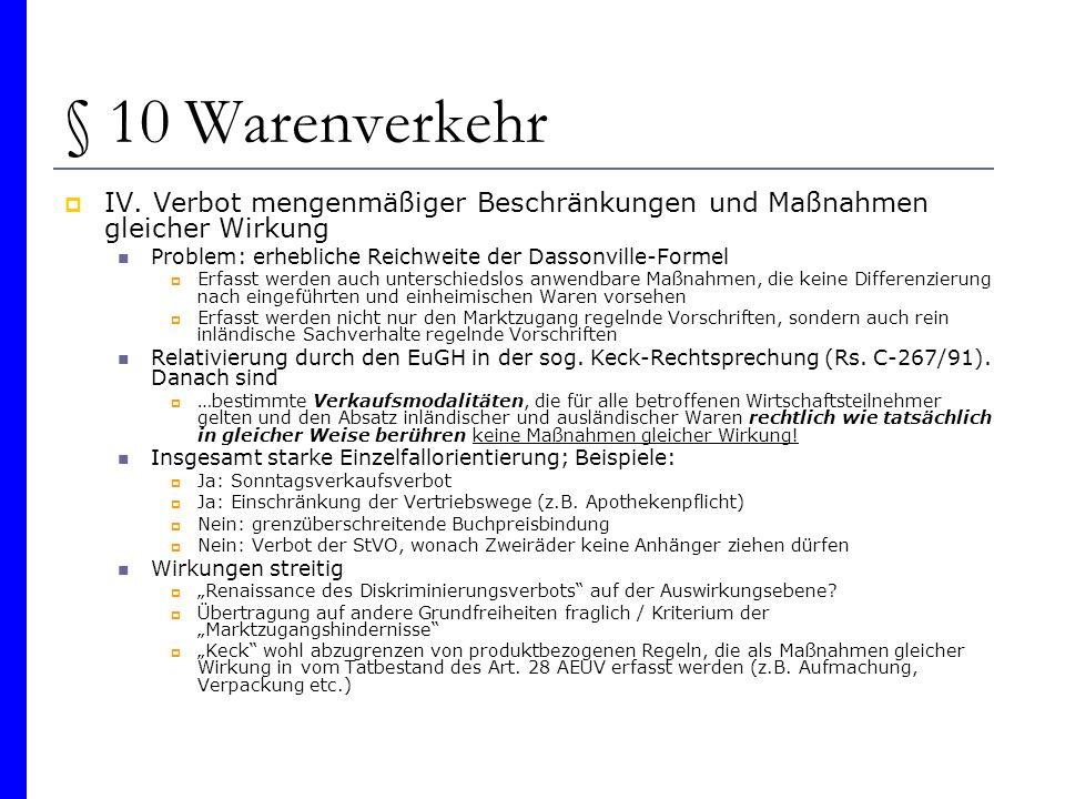 § 10 Warenverkehr V.Rechtfertigung nach Art. 36 AEUV Art.