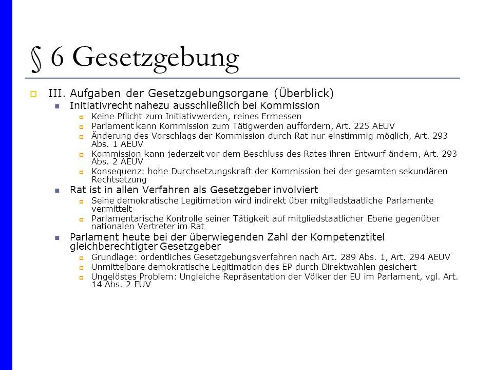 § 6 Gesetzgebung III. Aufgaben der Gesetzgebungsorgane (Überblick) Initiativrecht nahezu ausschließlich bei Kommission Keine Pflicht zum Initiativwerd
