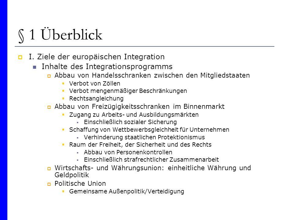 § 1 Überblick I. Ziele der europäischen Integration Inhalte des Integrationsprogramms Abbau von Handelsschranken zwischen den Mitgliedstaaten Verbot v
