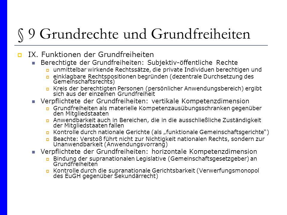§ 9 Grundrechte und Grundfreiheiten IX. Funktionen der Grundfreiheiten Berechtigte der Grundfreiheiten: Subjektiv-öffentliche Rechte unmittelbar wirke