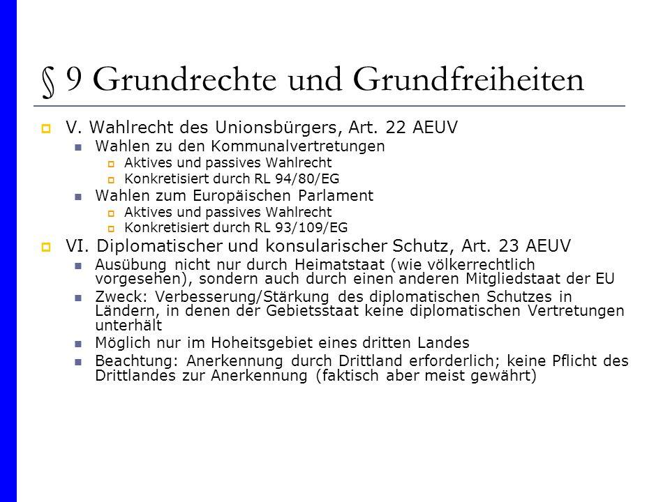 § 9 Grundrechte und Grundfreiheiten V. Wahlrecht des Unionsbürgers, Art. 22 AEUV Wahlen zu den Kommunalvertretungen Aktives und passives Wahlrecht Kon