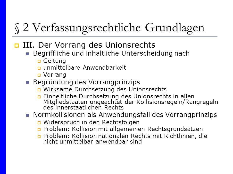 § 2 Verfassungsrechtliche Grundlagen III. Der Vorrang des Unionsrechts Begriffliche und inhaltliche Unterscheidung nach Geltung unmittelbare Anwendbar