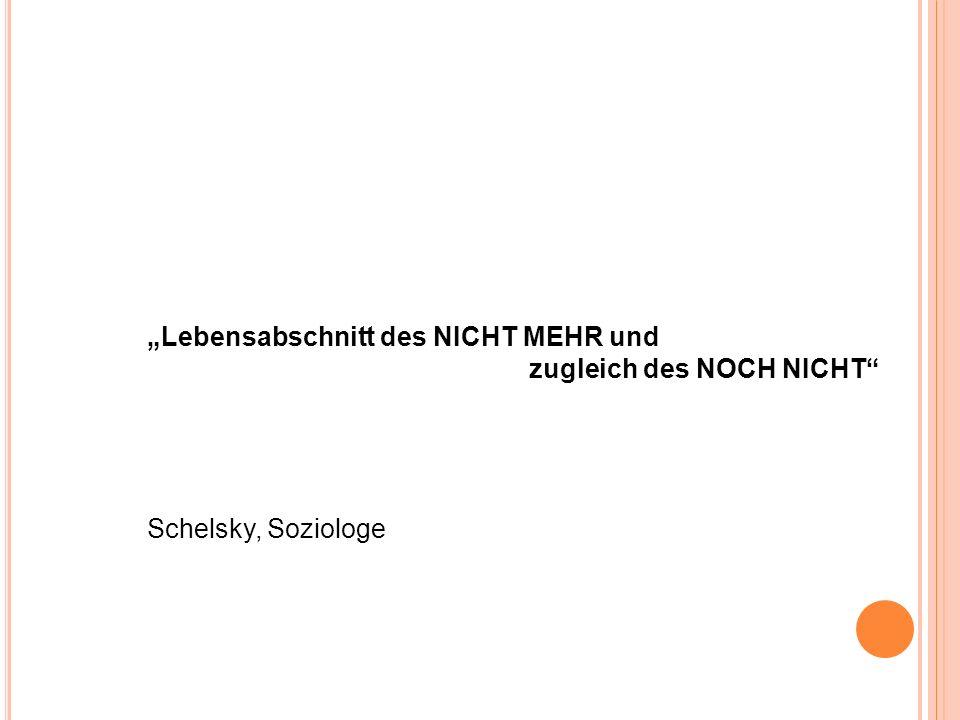 Lebensabschnitt des NICHT MEHR und zugleich des NOCH NICHT Schelsky, Soziologe