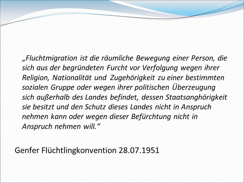 Fluchtmigration ist die räumliche Bewegung einer Person, die sich aus der begründeten Furcht vor Verfolgung wegen ihrer Religion, Nationalität und Zug
