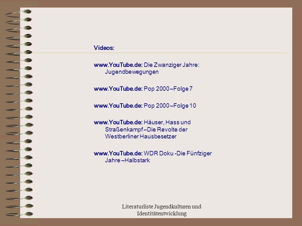 Literaturliste Jugendkulturen und Identitätentwicklung Videos: www.YouTube.de: Die Zwanziger Jahre: Jugendbewegungen www.YouTube.de: Pop 2000 –Folge 7 www.YouTube.de: Pop 2000 –Folge 10 www.YouTube.de: Häuser, Hass und Straßenkampf –Die Revolte der Westberliner Hausbesetzer www.YouTube.de: WDR Doku -Die Fünfziger Jahre –Halbstark