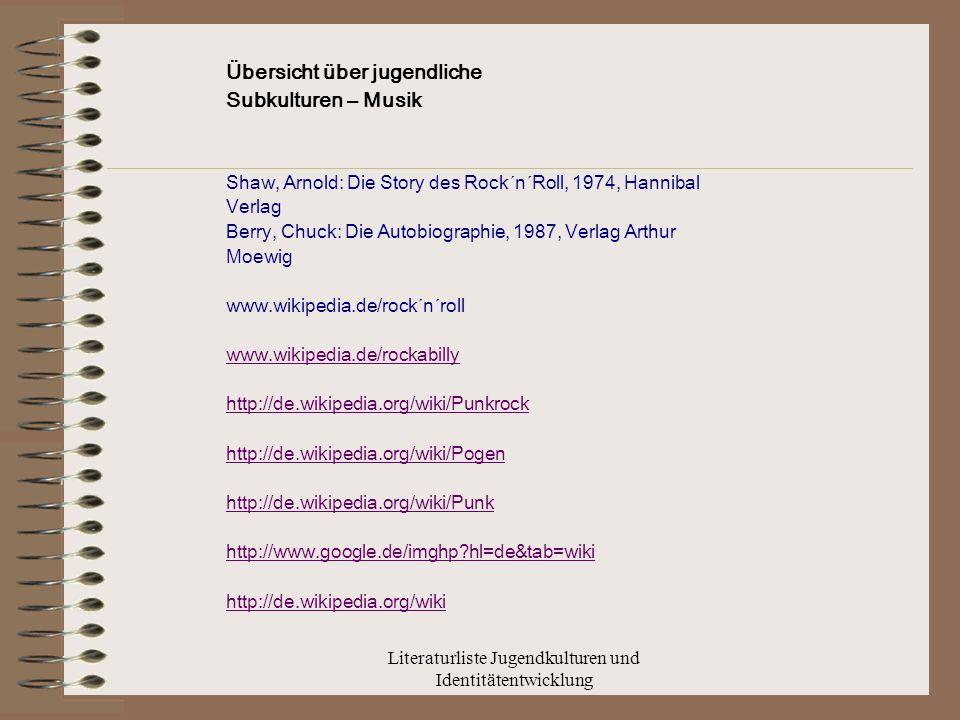 Literaturliste Jugendkulturen und Identitätentwicklung Übersicht über jugendliche Subkulturen – Musik Shaw, Arnold: Die Story des Rock´n´Roll, 1974, Hannibal Verlag Berry, Chuck: Die Autobiographie, 1987, Verlag Arthur Moewig www.wikipedia.de/rock´n´roll www.wikipedia.de/rockabilly http://de.wikipedia.org/wiki/Punkrock http://de.wikipedia.org/wiki/Pogen http://de.wikipedia.org/wiki/Punk http://www.google.de/imghp?hl=de&tab=wiki http://de.wikipedia.org/wiki