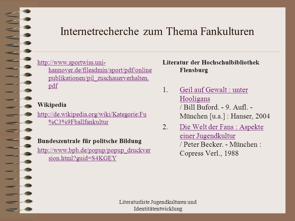 Literaturliste Jugendkulturen und Identitätentwicklung Internetrecherche zum Thema Fankulturen http://www.sportwiss.uni- hannover.de/fileadmin/sport/pdf/online publikationen/pil_zuschauerverhalten.