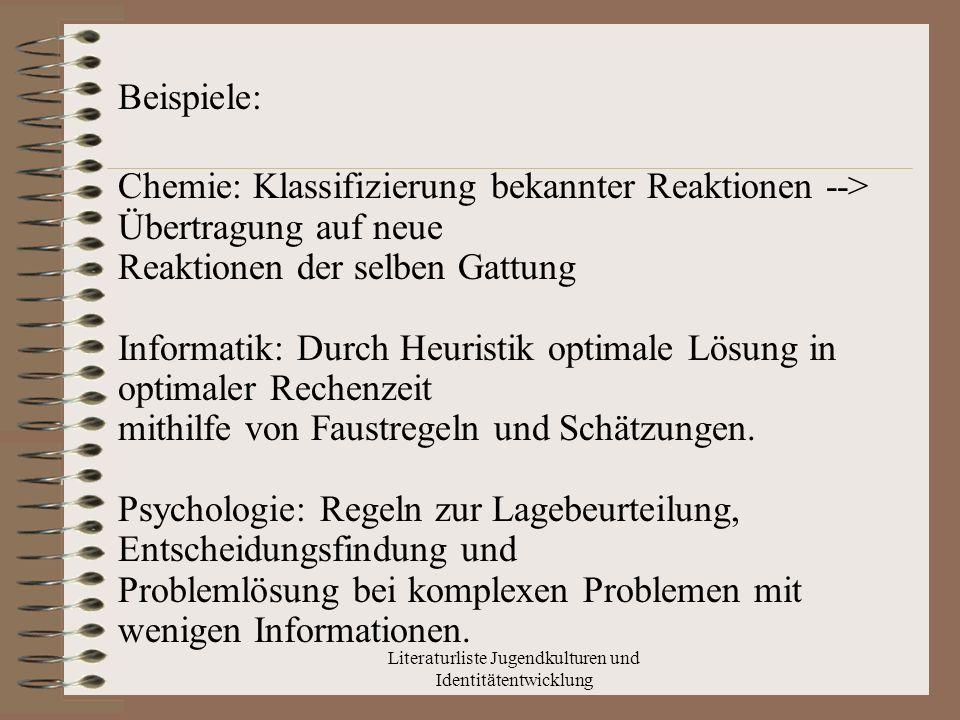 Literaturliste Jugendkulturen und Identitätentwicklung Lexikon für Psychologie und Pädagogik 1.Definition: Jugendkultur, in moderneren Gesellschaften westl.