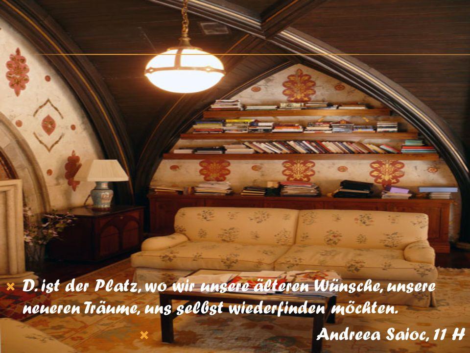 D. ist der Platz, wo wir unsere älteren Wünsche, unsere neueren Träume, uns selbst wiederfinden möchten. Andreea Saioc, 11 H
