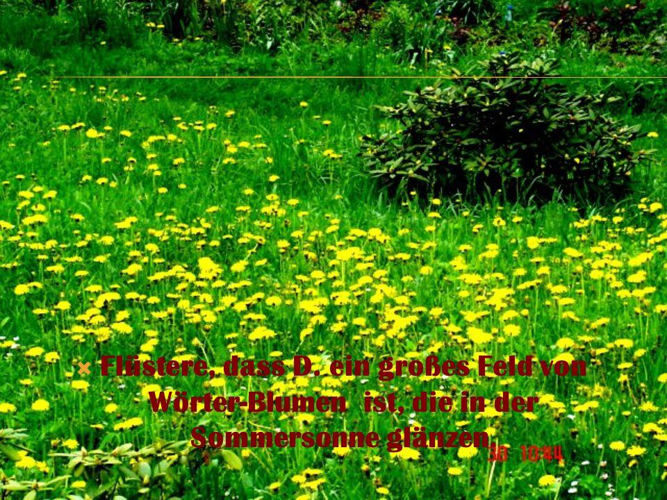 Flüstere, dass D. ein großes Feld von Wörter-Blumen ist, die in der Sommersonne glänzen.