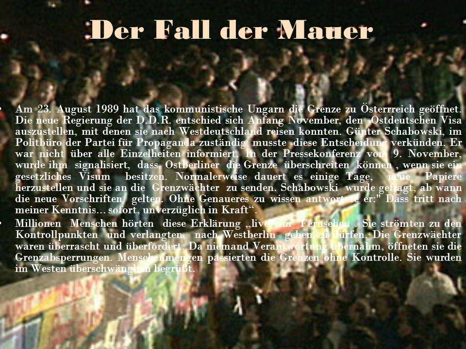 Das Brandemburger Tor-der größte Grenzübergang Das ostdeutsche politische Regime kündigte in den nächsten Wochen die Öffnung von 10 neuen Grenzübergängen an : Potsdamer Platz, Glienicker Brücke, Bernauer Straße.