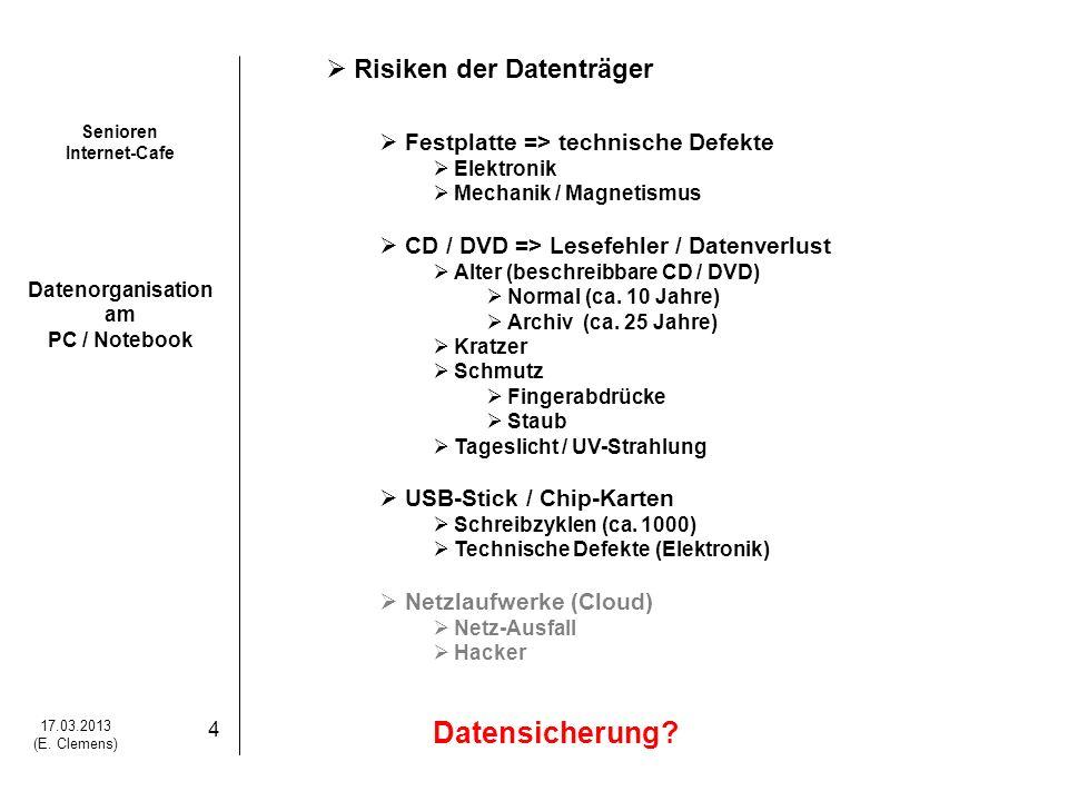 Senioren Internet-Cafe Datenorganisation am PC / Notebook 17.03.2013 (E. Clemens) 4 Risiken der Datenträger Festplatte => technische Defekte Elektroni