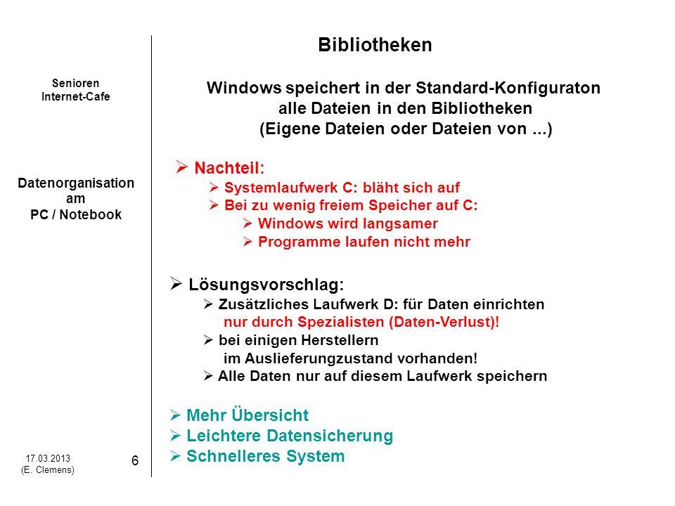 Senioren Internet-Cafe Datenorganisation am PC / Notebook 17.03.2013 (E.