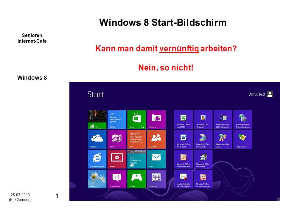 Senioren Internet-Cafe Windows 8 28.03.2013 (E.Clemens) 2 Aber mit dem Windows 8 Desktop.