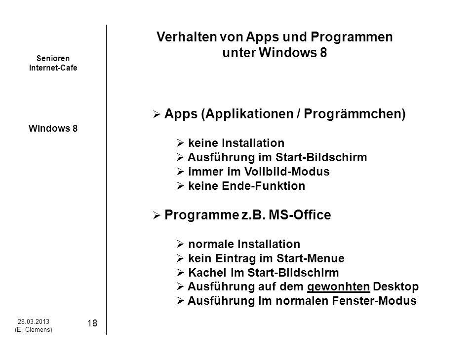 Senioren Internet-Cafe Windows 8 28.03.2013 (E. Clemens) 19 Wie sieht das in der Praxis aus ?