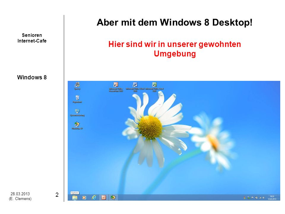 Senioren Internet-Cafe Windows 8 28.03.2013 (E.Clemens) 3 Windows 8 Was ist anders (neu) .