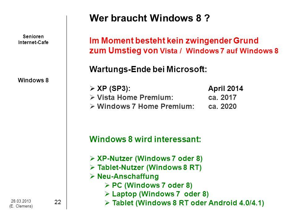 Senioren Internet-Cafe Windows 8 28.03.2013 (E.Clemens) 22 Wer braucht Windows 8 .