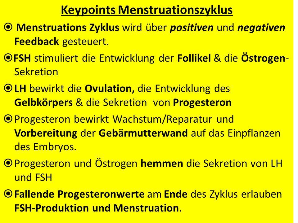 Keypoints Menstruationszyklus Menstruations Zyklus wird über positiven und negativen Feedback gesteuert. FSH stimuliert die Entwicklung der Follikel &