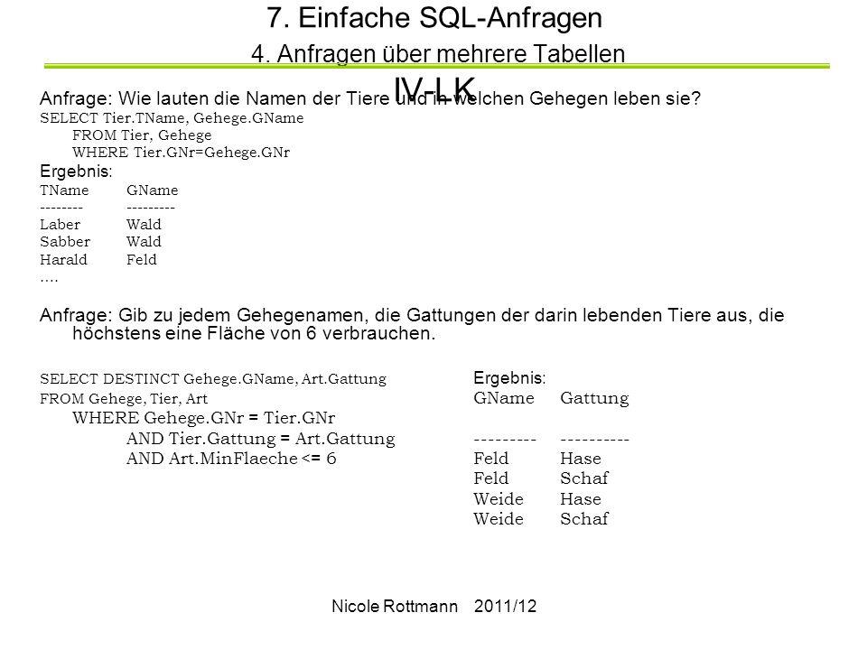 Nicole Rottmann 2011/12 7.Einfache SQL-Anfragen 4.
