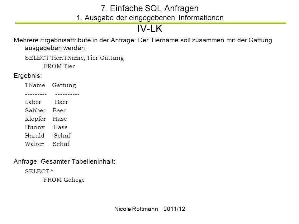 Nicole Rottmann 2011/12 7.Einfache SQL-Anfragen 1.