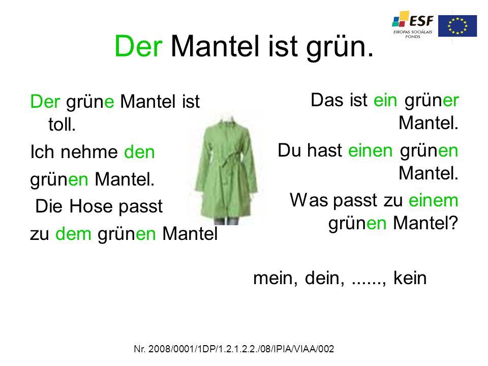 Der Mantel ist grün. Der grüne Mantel ist toll. Ich nehme den grünen Mantel. Die Hose passt zu dem grünen Mantel Das ist ein grüner Mantel. Du hast ei