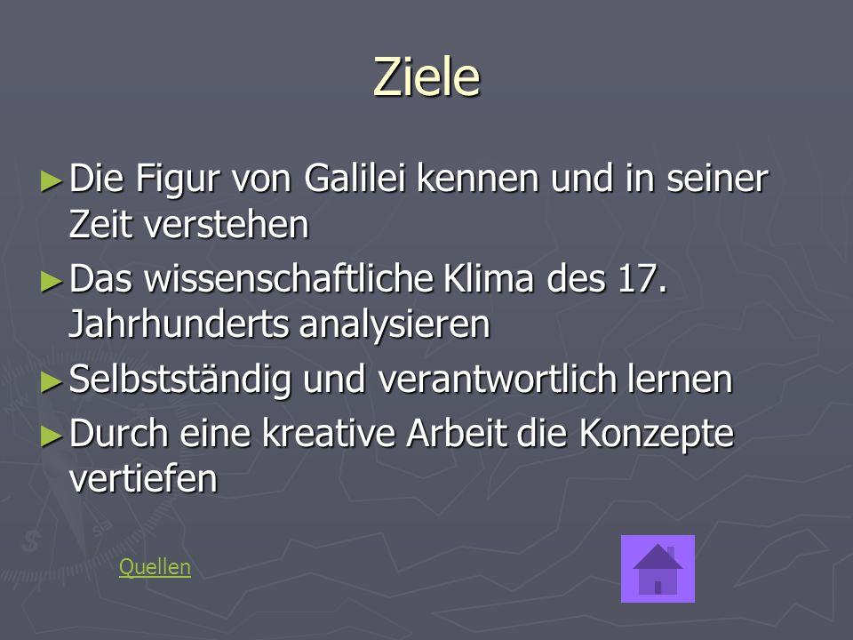 Ziele Die Figur von Galilei kennen und in seiner Zeit verstehen Die Figur von Galilei kennen und in seiner Zeit verstehen Das wissenschaftliche Klima