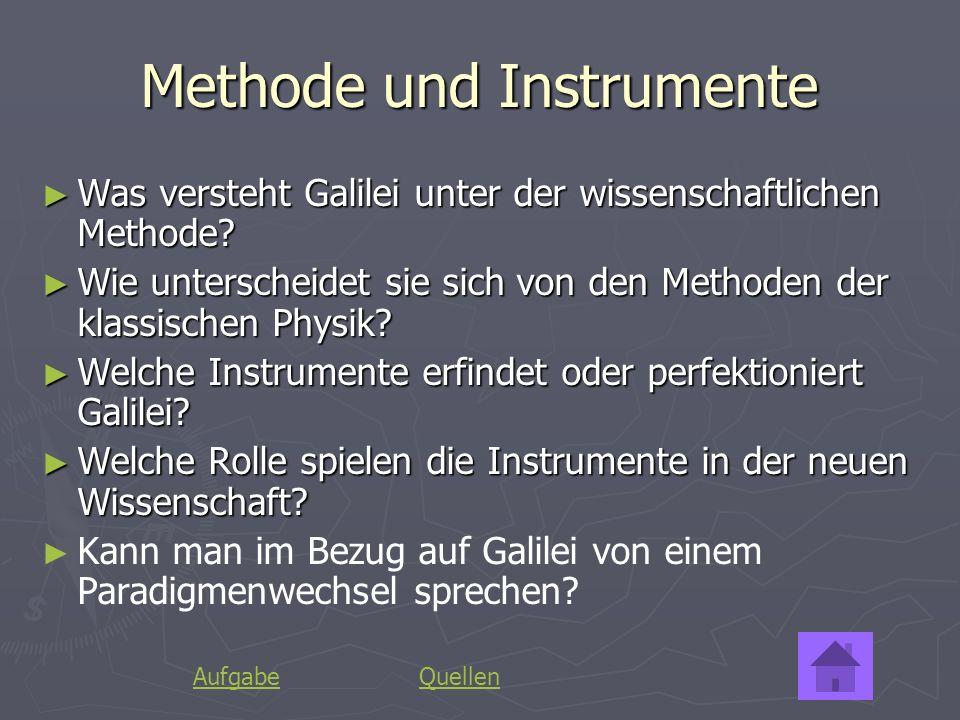 Methode und Instrumente Was versteht Galilei unter der wissenschaftlichen Methode? Was versteht Galilei unter der wissenschaftlichen Methode? Wie unte