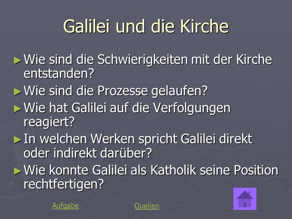 Galilei und die Kirche Wie sind die Schwierigkeiten mit der Kirche entstanden? Wie sind die Schwierigkeiten mit der Kirche entstanden? Wie sind die Pr