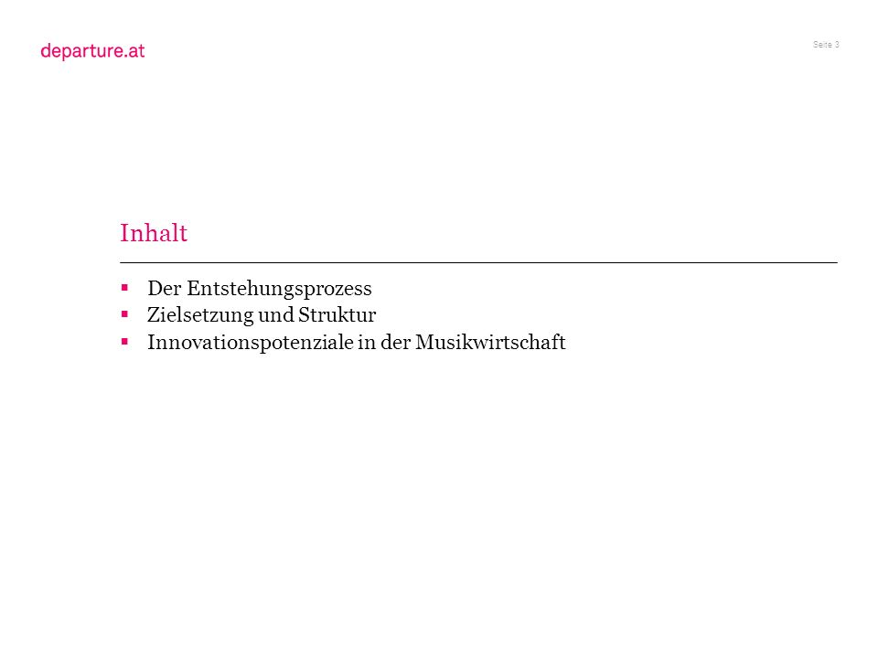 Seite 14 Struktur und noch… Ein einleitendes Essay zu Innovationspotenzialen in der Musikwirtschaft Drei Exkurse zu Wiener Musikszenen Die Berliner Musikwirtschaft in der Momentaufnahme Branding und Labeling der Musikstadt Wien