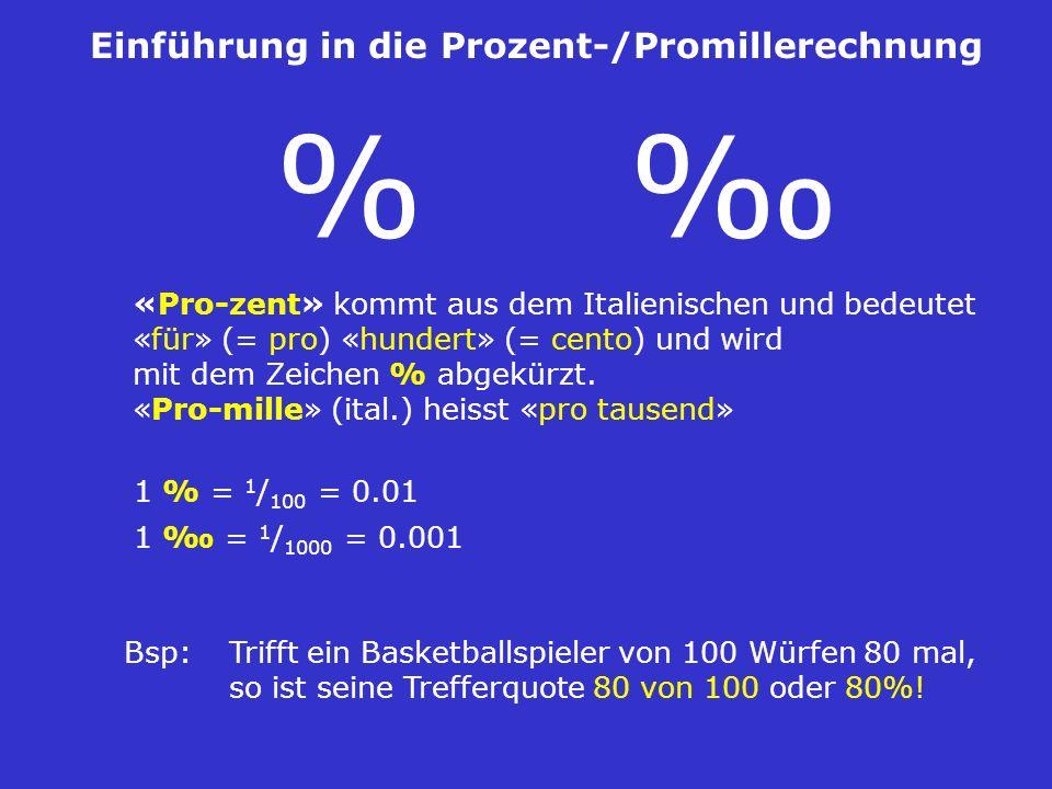 Einführung in die Prozent-/Promillerechnung «Pro-zent» kommt aus dem Italienischen und bedeutet «für» (= pro) «hundert» (= cento) und wird mit dem Zei
