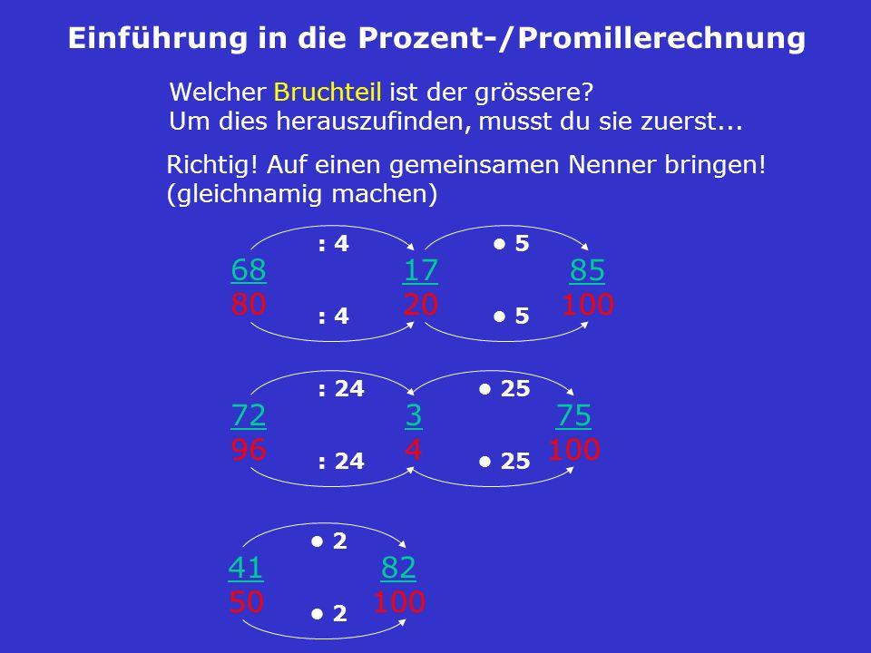 Welcher Bruchteil ist der grössere? Um dies herauszufinden, musst du sie zuerst... Einführung in die Prozent-/Promillerechnung 68 80 72 96 41 50 Richt