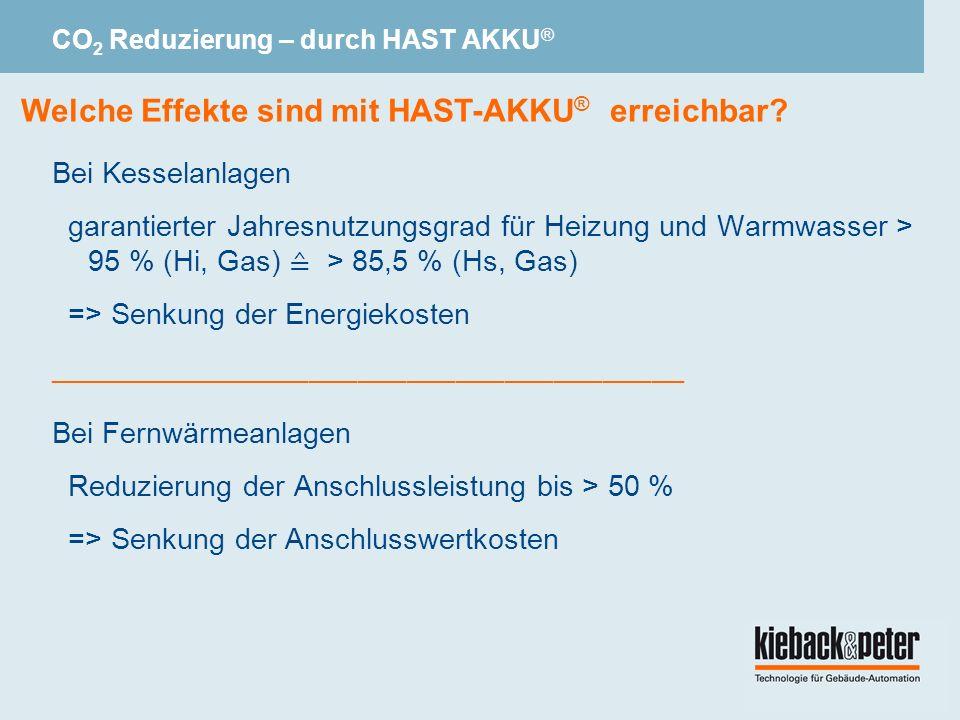 Bei Kesselanlagen garantierter Jahresnutzungsgrad für Heizung und Warmwasser > 95 % (Hi, Gas) > 85,5 % (Hs, Gas) => Senkung der Energiekosten _______________________________________ Bei Fernwärmeanlagen Reduzierung der Anschlussleistung bis > 50 % => Senkung der Anschlusswertkosten Welche Effekte sind mit HAST-AKKU ® erreichbar.