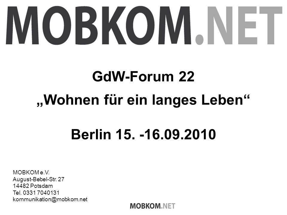 GdW-Forum 22 Wohnen für ein langes Leben Berlin 15.