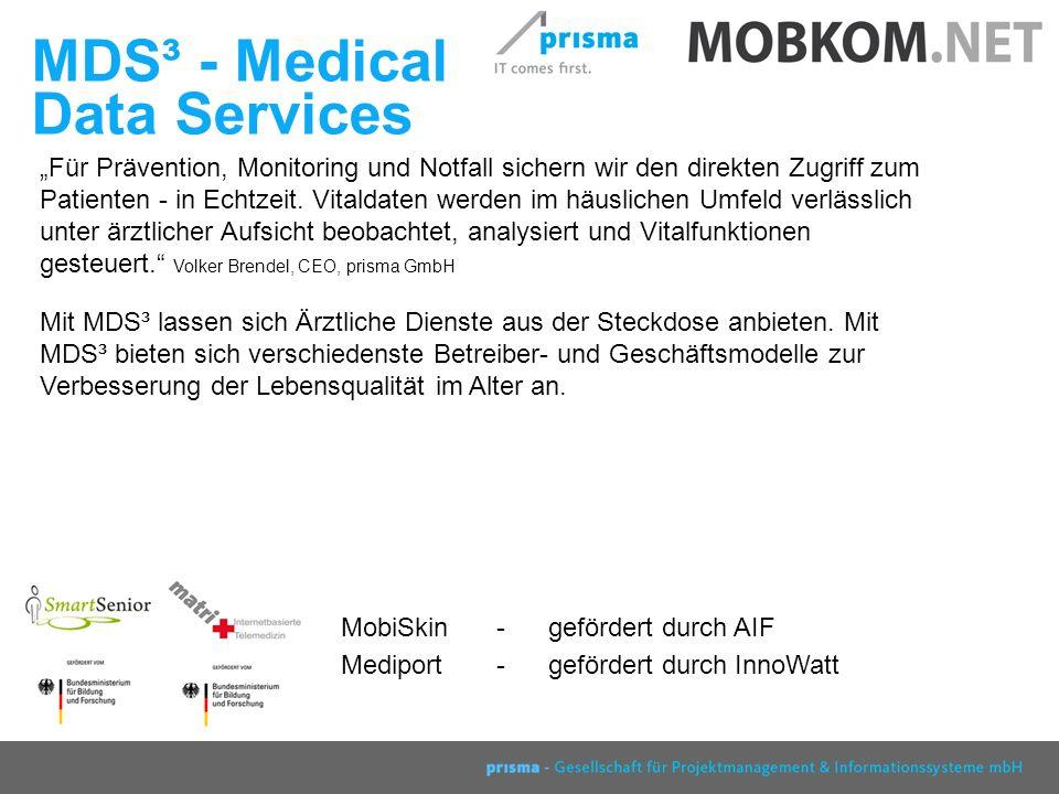prisma GmbH Berlin 2007 MDS³ - Medical Data Services Für Prävention, Monitoring und Notfall sichern wir den direkten Zugriff zum Patienten - in Echtzeit.