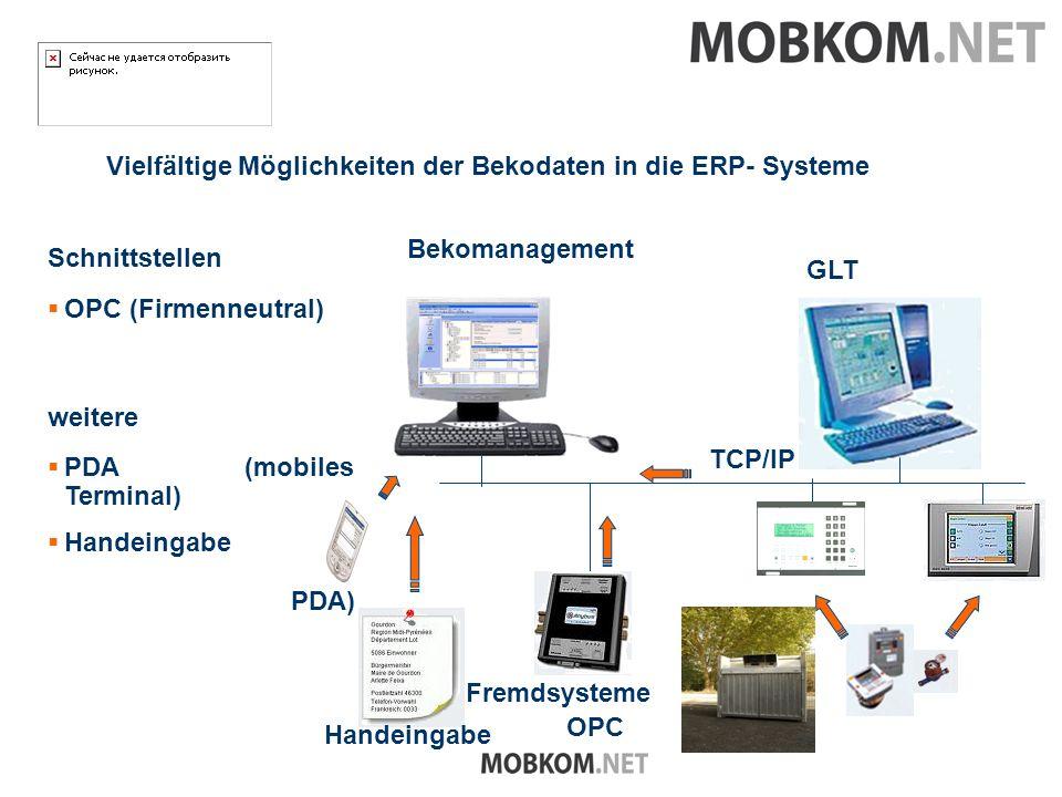 Vielfältige Möglichkeiten der Bekodaten in die ERP- Systeme Schnittstellen Fremdsysteme OPC TCP/IP PDA) Handeingabe GLT OPC (Firmenneutral) weitere PDA (mobiles Terminal) Handeingabe Bekomanagement
