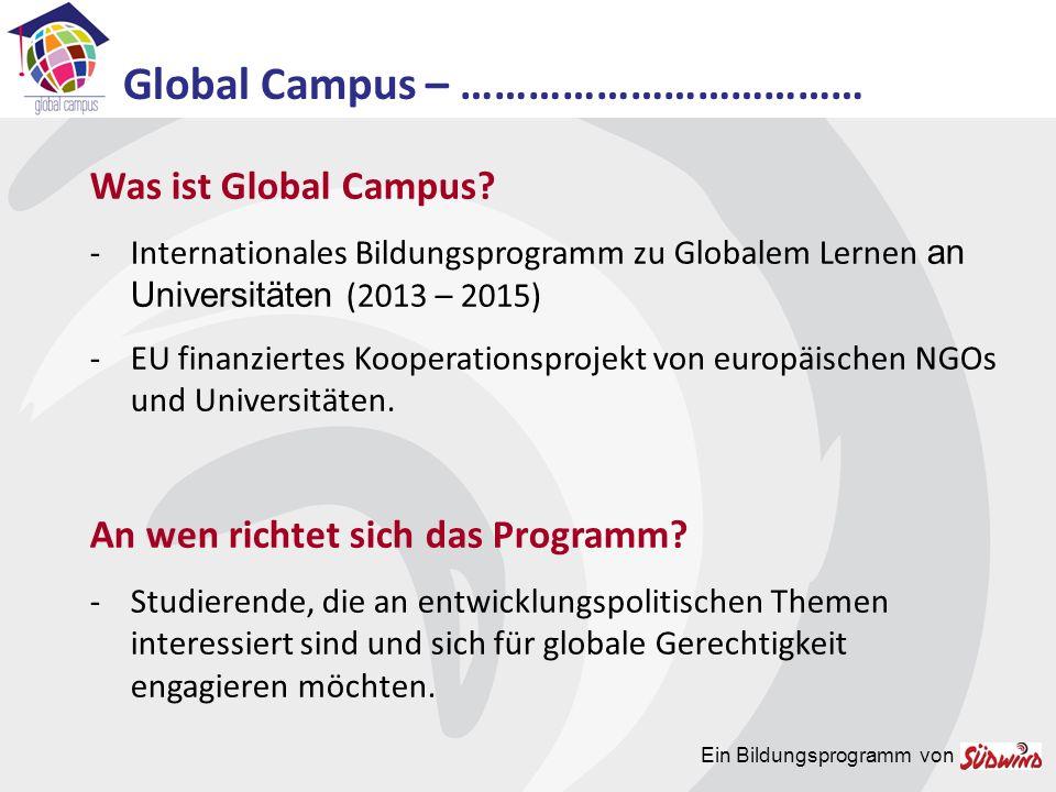 Ein Bildungsprogramm von Wo gibt es Global Campus.