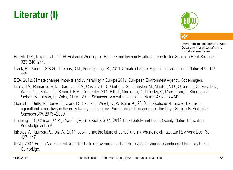 Universität für Bodenkultur Wien Department für Wirtschafts- und Sozialwissenschaften Landwirtschaft im Klimawandel | Ring-VO Ernährungssouveränität L