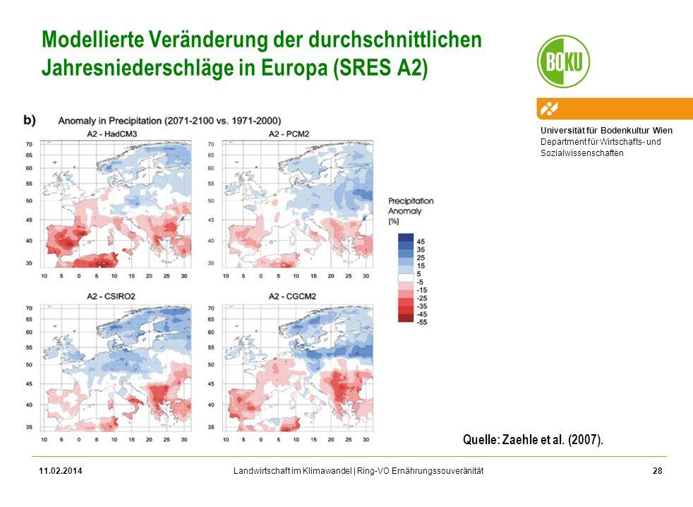 Universität für Bodenkultur Wien Department für Wirtschafts- und Sozialwissenschaften Landwirtschaft im Klimawandel | Ring-VO Ernährungssouveränität M