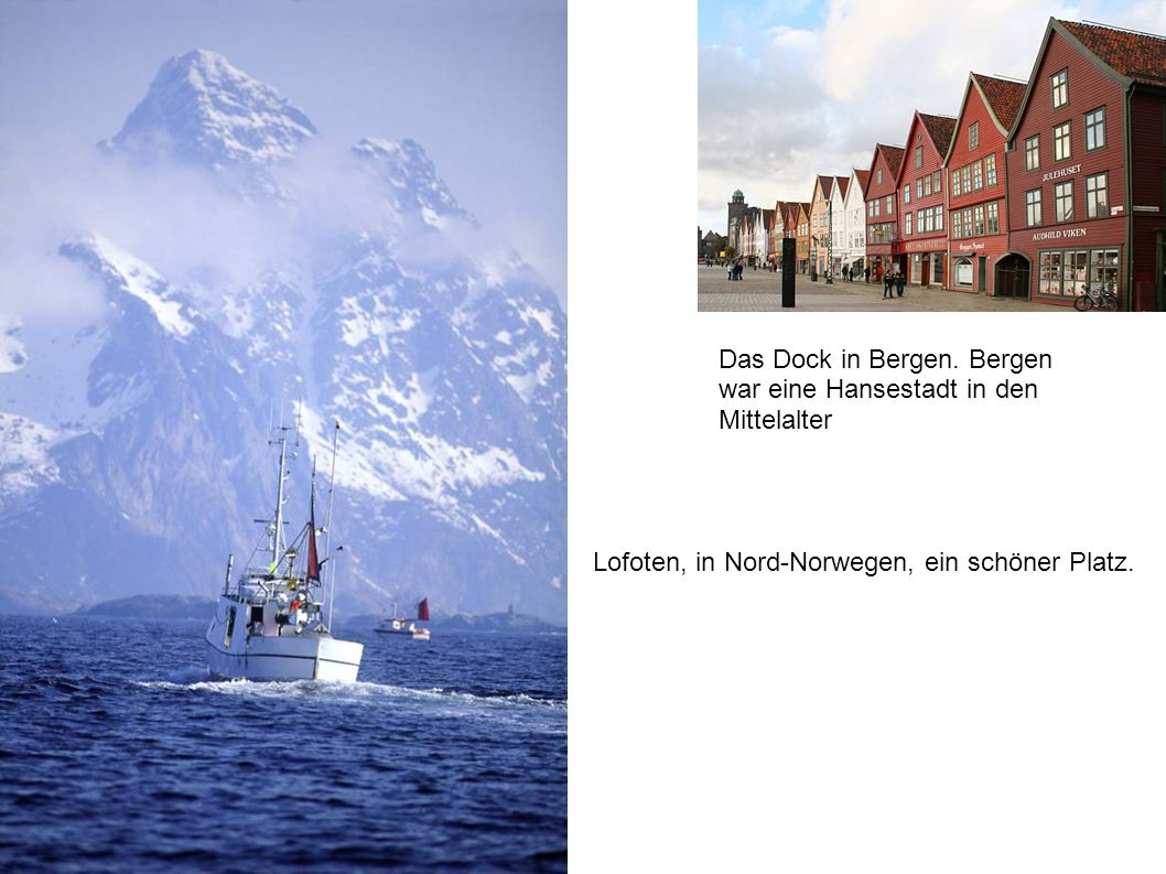 Lofoten, in Nord-Norwegen, ein schöner Platz. Das Dock in Bergen. Bergen war eine Hansestadt in den Mittelalter