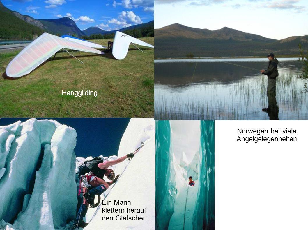 Hanggliding Ein Mann klettern herauf den Gletscher Norwegen hat viele Angelgelegenheiten