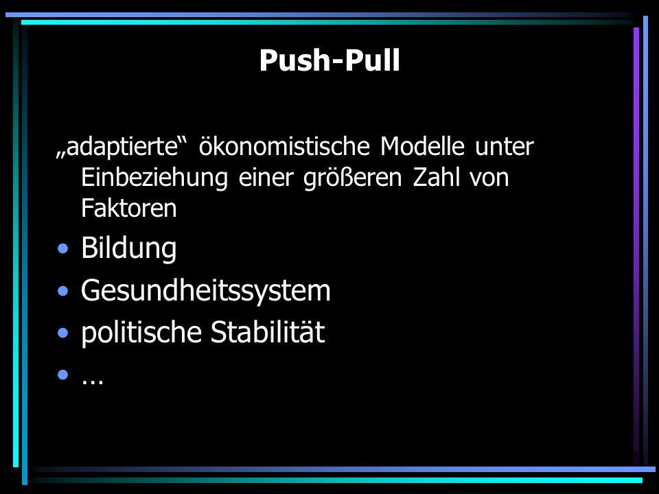 Push-Pull adaptierte ökonomistische Modelle unter Einbeziehung einer größeren Zahl von Faktoren Bildung Gesundheitssystem politische Stabilität …