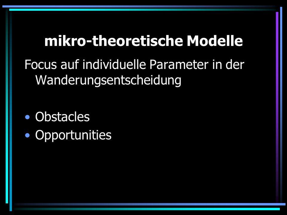 mikro-theoretische Modelle Focus auf individuelle Parameter in der Wanderungsentscheidung Obstacles Opportunities