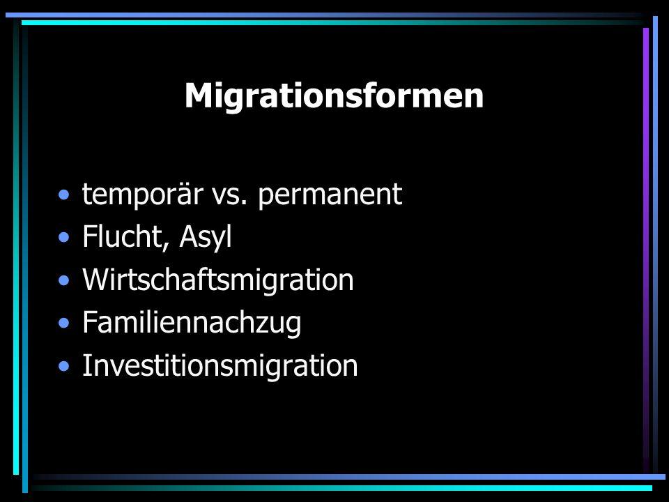 Migrationsformen temporär vs. permanent Flucht, Asyl Wirtschaftsmigration Familiennachzug Investitionsmigration