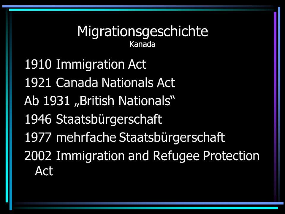 Migrationsgeschichte Australien 1958 dictation test fällt 1959 Staatsbürgerschaft auch für AsiatInnen 1973 Immigration Laws StB nach drei Jahren Rasse kein Kriterium 1975 Racial Discrimination Act
