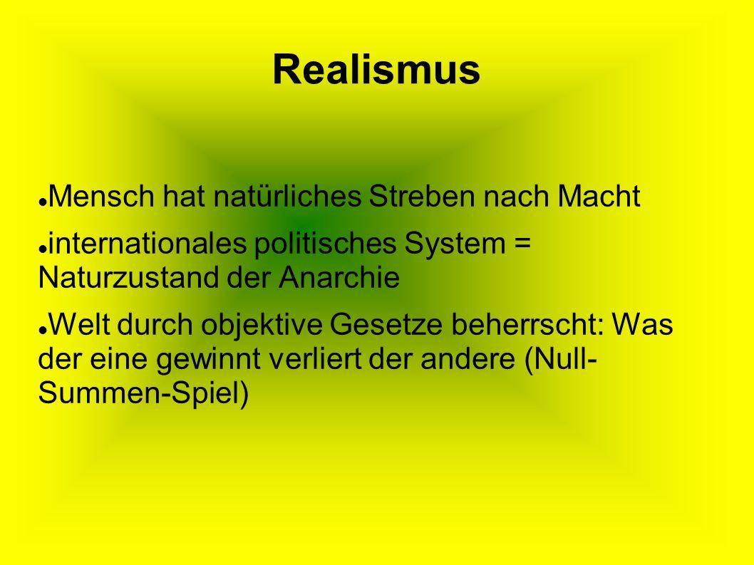 Realismus Mensch hat natürliches Streben nach Macht internationales politisches System = Naturzustand der Anarchie Welt durch objektive Gesetze beherrscht: Was der eine gewinnt verliert der andere (Null- Summen-Spiel)